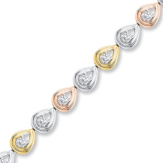Diamond Bracelet 1/2 ct tw Round-cut 10K Tri-Color