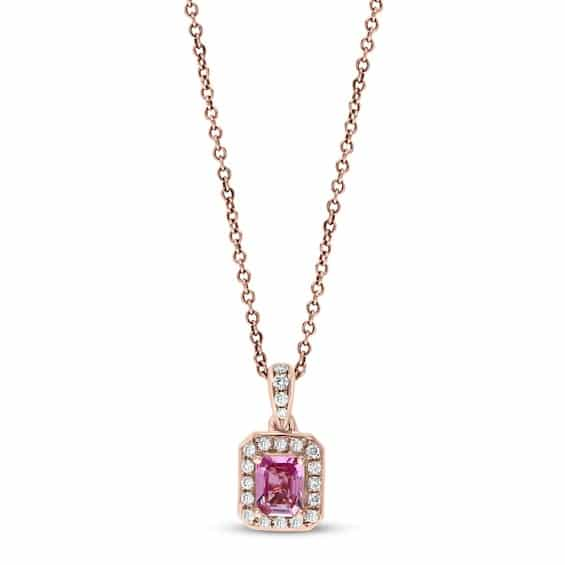 Effy Natural Pink Sapphire Necklace 1/10 ct tw Diamonds 14K Rose Gold