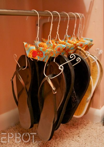How To Store Shoes - DIY sandal holders using wire hangers