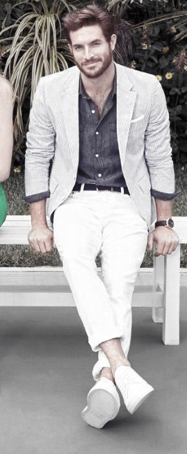 What To Wear With White Jeans For Men 20