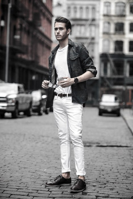 What To Wear With White Jeans For Men 35