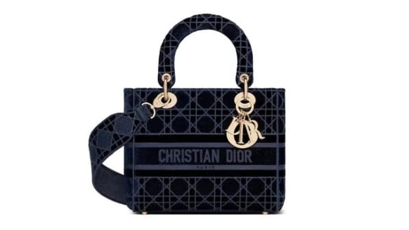 "Dior Lady D-Lite"" bag in blue velvet Cannage embroidery"