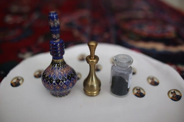 Wooden and brass applicators with sormeh