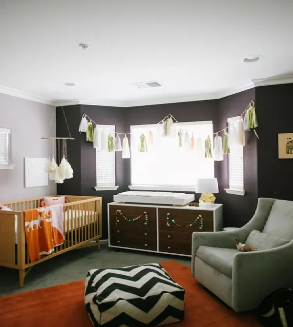 Black and Orange Nursery Walls