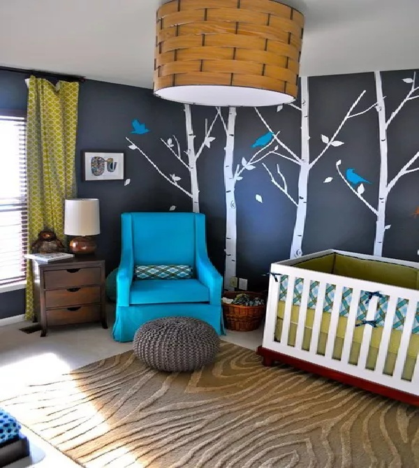 Black and Blue Nursery Walls