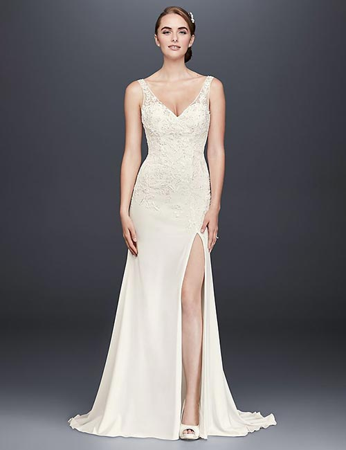 Simple And Affordable Wedding Dresses - Applique-Work-Lace-Dress-With-Side-Slit