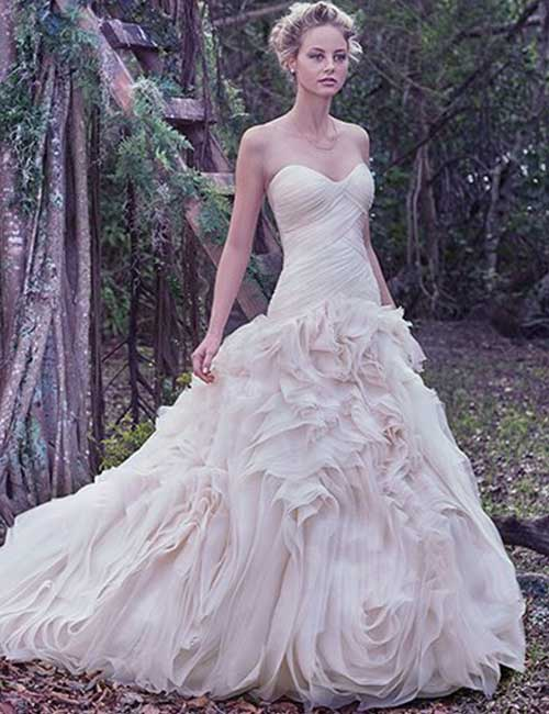 Simple And Affordable Wedding Dresses - Asymmetrically-Pleated-Dress