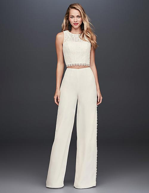 Simple And Affordable Wedding Dresses - Crop-Top-And-Crepe-Pants