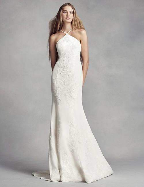 Simple And Affordable Wedding Dresses - Halter-Style-Fit-And-Flare-Dress
