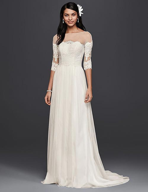 Simple And Affordable Wedding Dresses - Lace-Gown-With-Illusion-Sleeves
