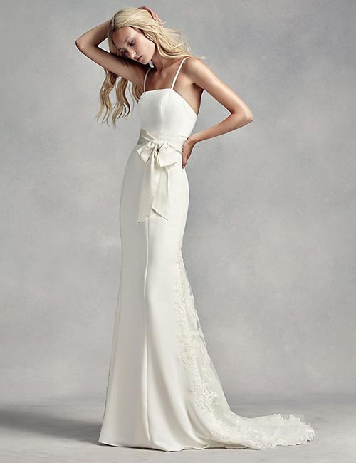 Simple And Affordable Wedding Dresses - Satin-And-Lace-Spaghetti-Dress