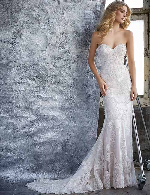 open back low back wedding gown