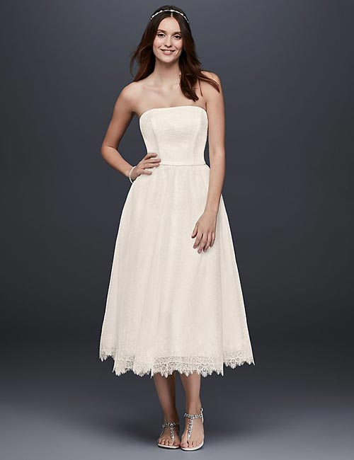 Simple And Affordable Wedding Dresses - Tea-Length-Lace-Dress