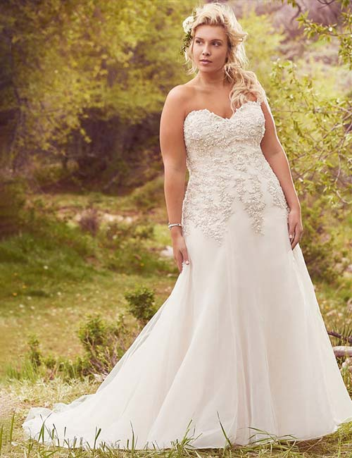 Wedding Dresses - A-Line Plus Size Dress With A Sweetheart Neckline