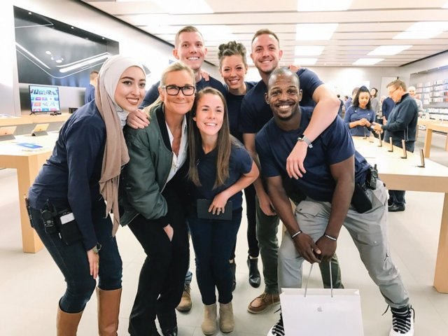 Angela Ahrendts, Apple's head of retail, worked in the fashion world before joining Apple. She's almost always wearing a cool jacket