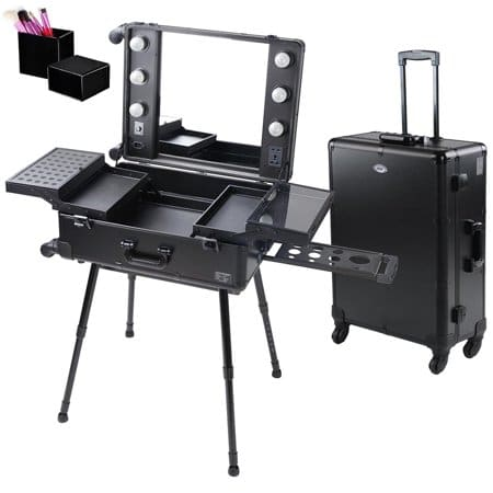 AW 4-Wheel Rolling Studio Makeup Case w/ LED Light Adjustable Black Artist Cosmetic Case Leg Mirror Train Table