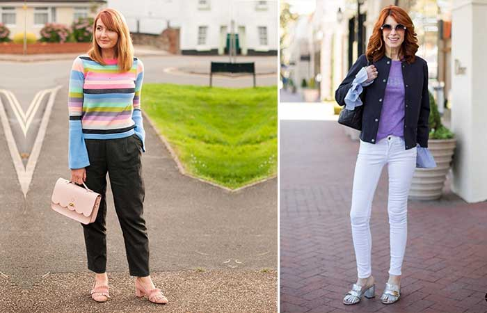 Fashion Tips For Women Over 50 – Striped Sweaters And Ankle Length Trousers