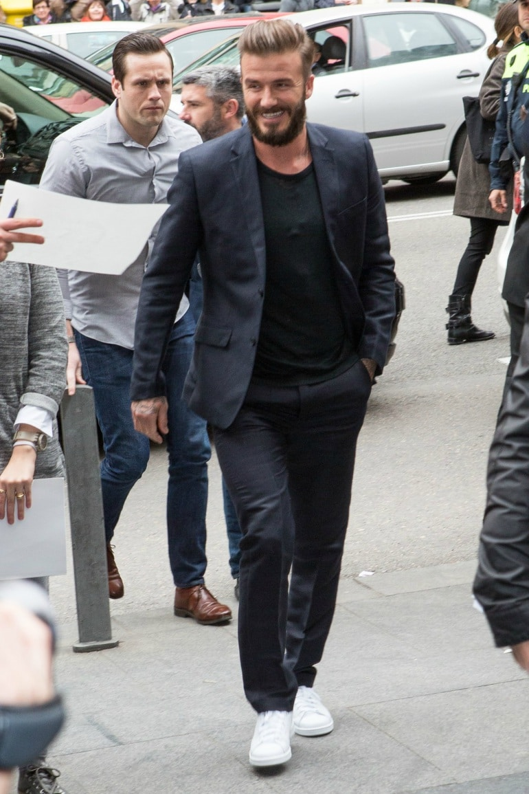 White Trainers - David Beckham In White Trainers
