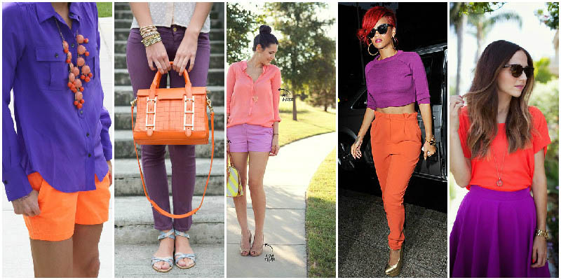 Purple and Coral Perfect Clothing Colour Combinations