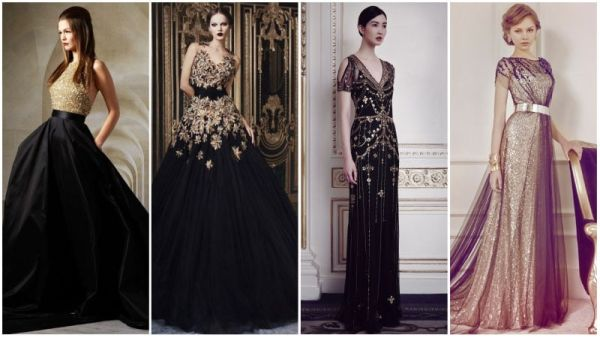 Black and Gold Wedding Dresses