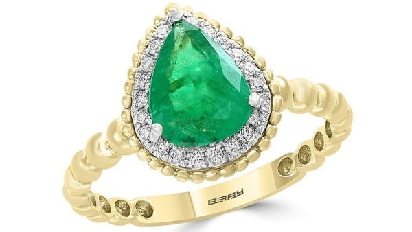 Bloomingdale's Emerald & Diamond Beaded Teardrop Ring in 14k White & Yellow Gold