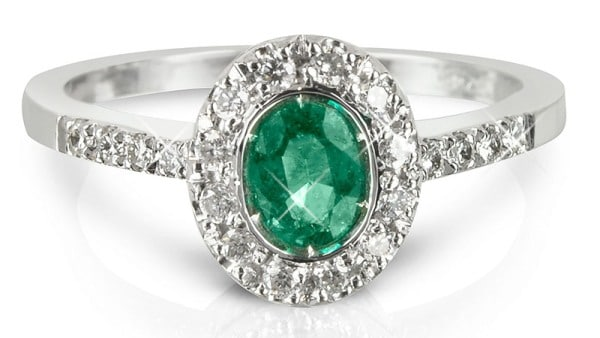 Forzieri Emerald and Diamond 18k White Gold Ring