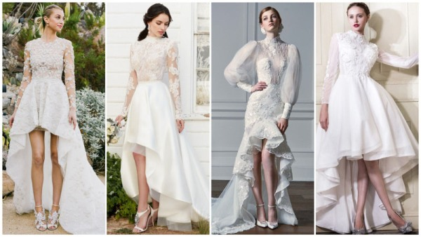 High Low Wedding Dresses with Sleeves