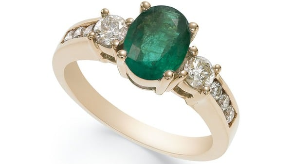Macy's 14k Gold, Emerald and Diamond Oval Ring
