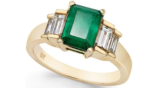 Macy's Emerald and Diamond Ring in 14k Gold