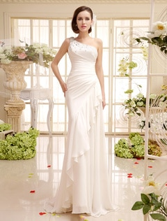 One-Shoulder Side Draping Chiffon