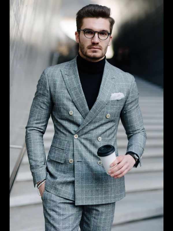 pinstriped grey white buttoned double breasted suit