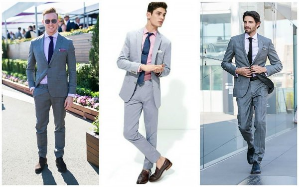 Grey Suit with Pink Shirt