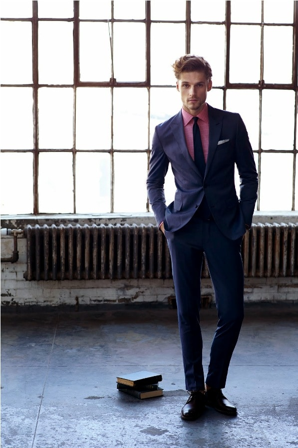 Blue Suit With A Pink Shirt