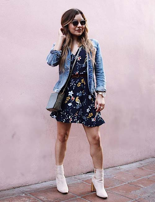 Short Floral Dress And Boots