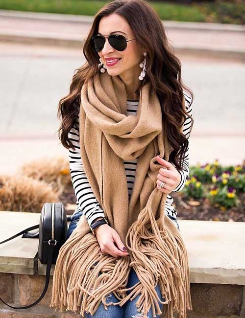 Striped Shirt And Scarf