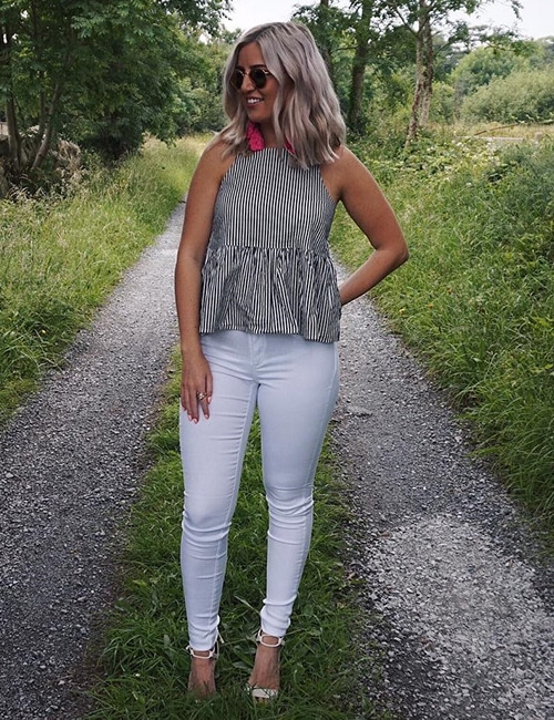 White Jeans And Gray Top