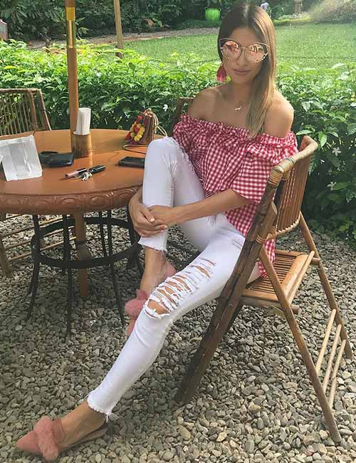 White Ripped Jeans With Off-Shoulder Top