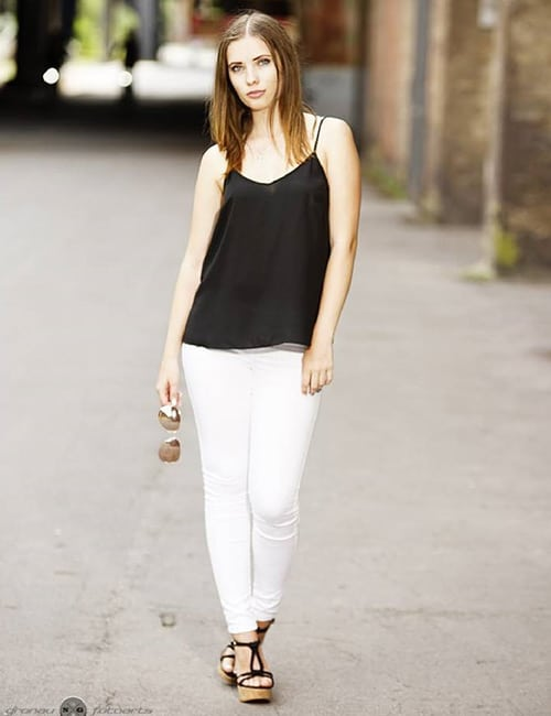 White Jeans With Black Top And Accessories