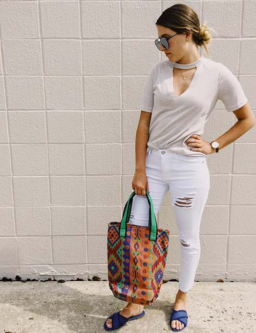 White Jeans With A Nude Choker Style Top
