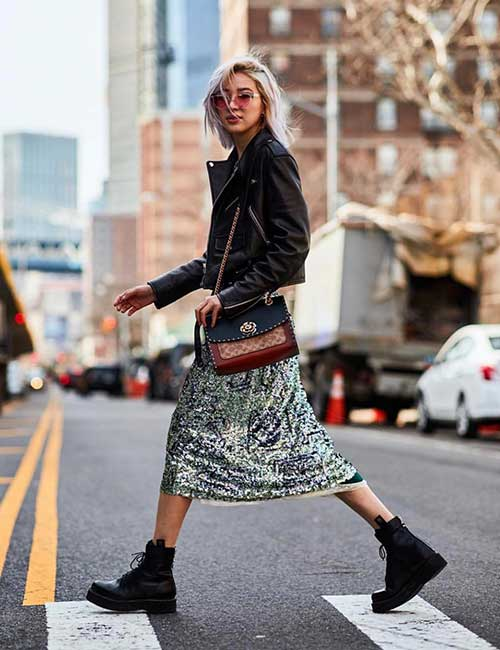 Sequin Skirt And Leather Jacket