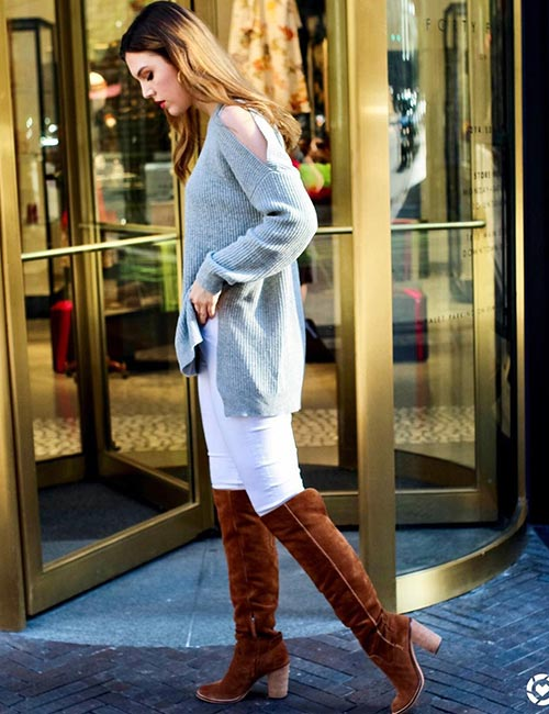 White Jeans And Brown Boots For Winters Or Spring
