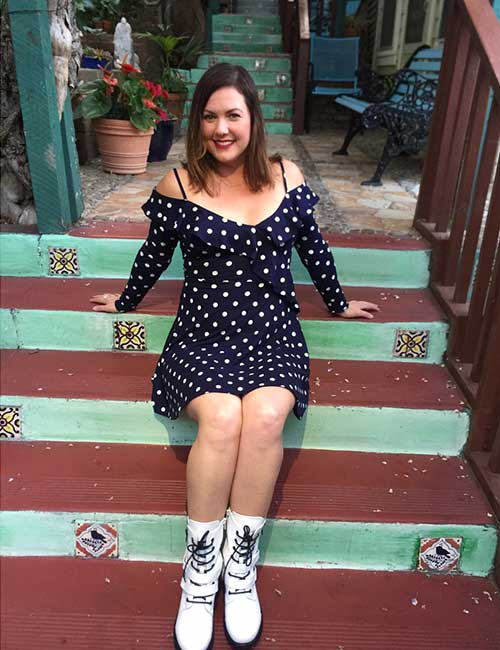 Polka Dot Dress And White Boots