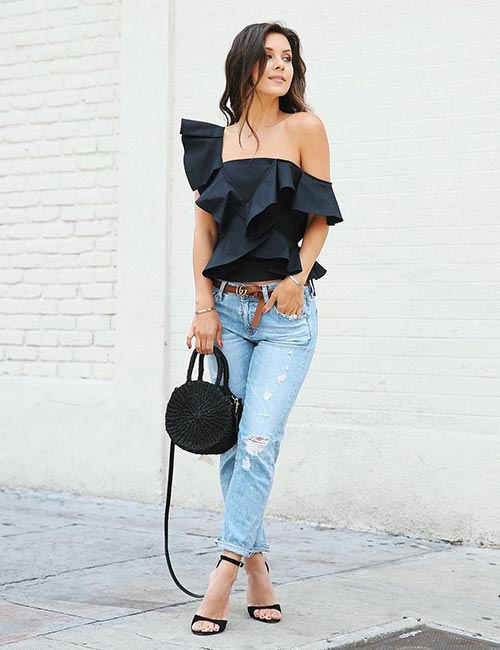With An Off Shoulder Top