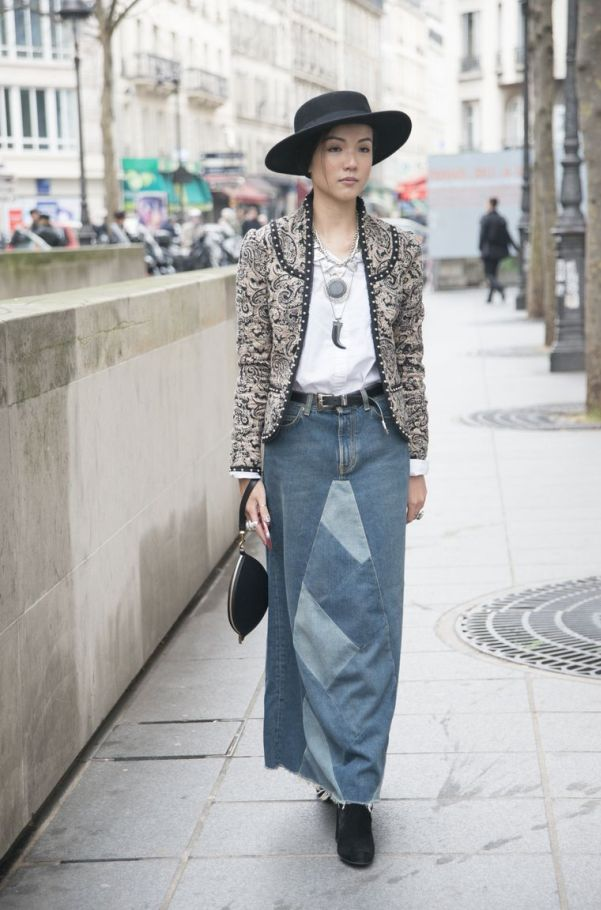 Upgrade a Denim Maxi Skirt With a Jacket