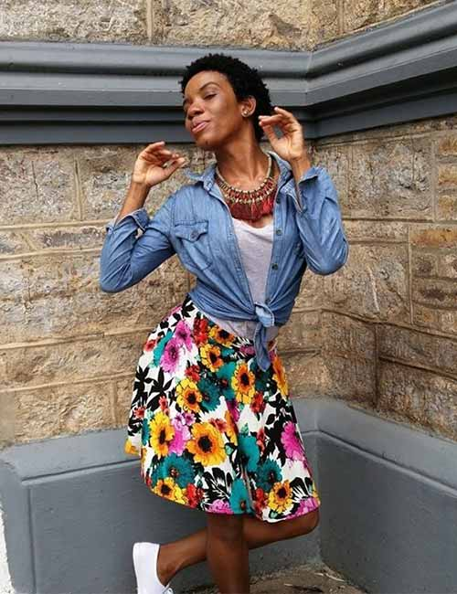 With A Floral A-Line Skirt