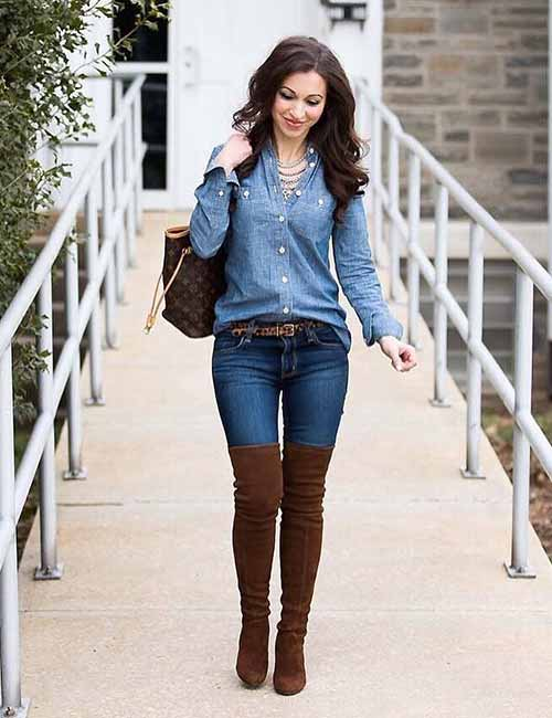 With Skinny Jeans And Knee Length Boots