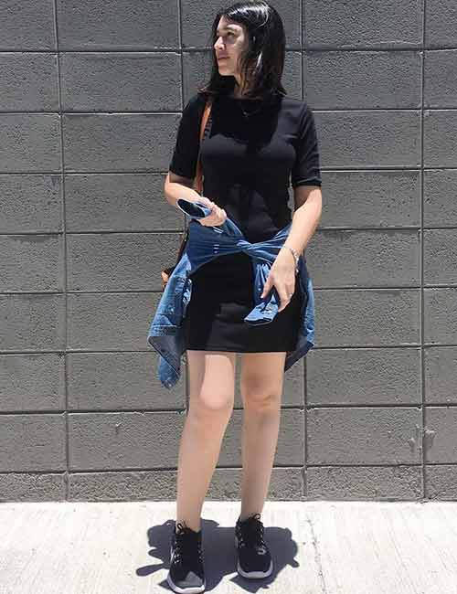 With A One-Piece T-Shirt Dress
