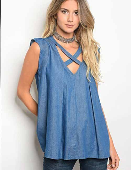 Criss Cross Chambray Tunic Top With Jeggings