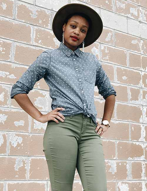 Polka Dots Denim Shirt With Faded Jeans