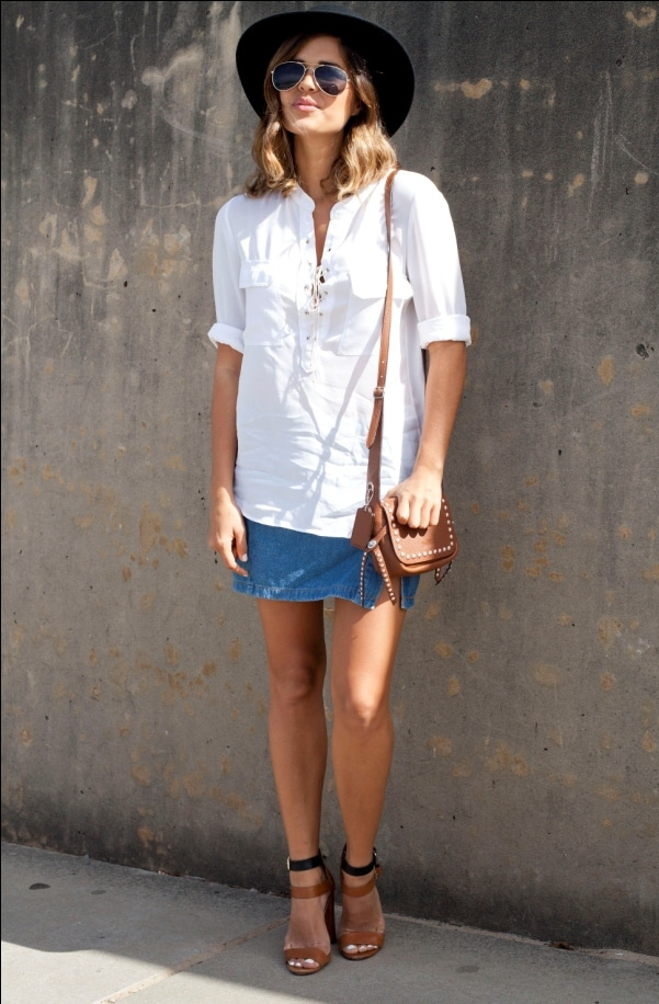 Denim Mini and White Cotton Shirt